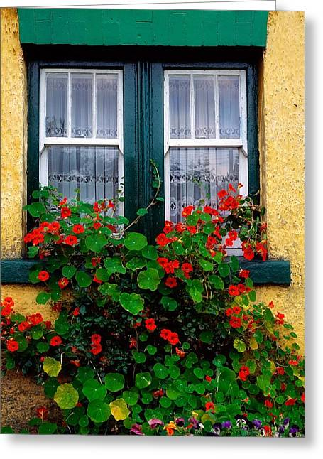 Garden Statuary Greeting Cards - Cottage Window, Co Antrim, Ireland Greeting Card by The Irish Image Collection