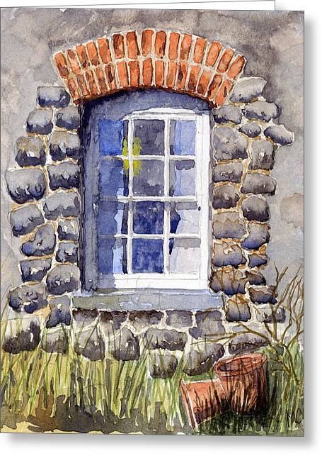 Old Objects Paintings Greeting Cards - Cottage Window Greeting Card by Mike Lester