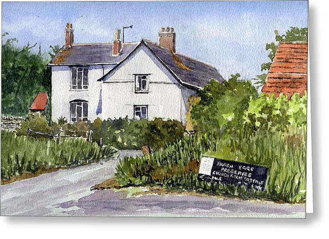 Charming Cottage Greeting Cards - Cottages at Binsey. Nr Oxford Greeting Card by Mike Lester