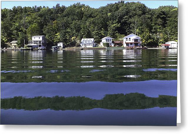Keuka Greeting Cards - Cottages from the Lake Greeting Card by Alison Squiers