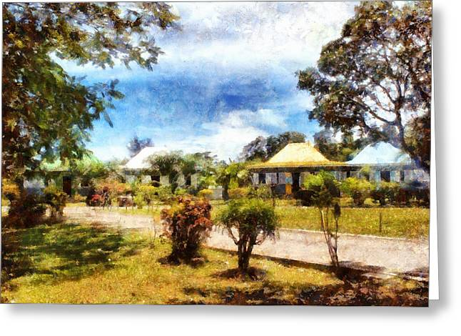 Greenery Greeting Cards - Cottages in a landscape Greeting Card by Ashish Agarwal