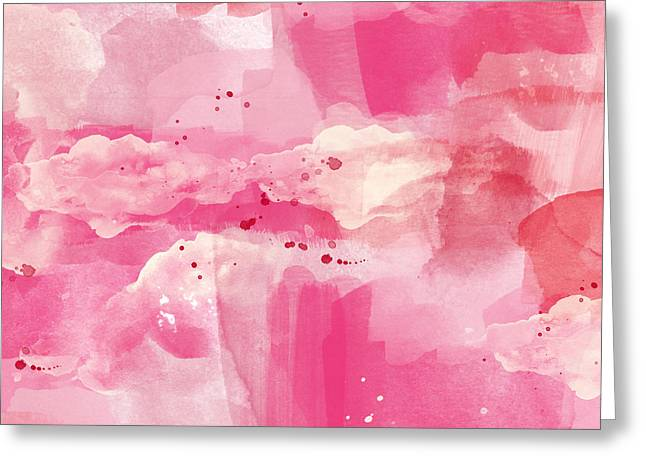 Bedroom Wall Art Greeting Cards - Cotton Candy Clouds- Abstract Watercolor Greeting Card by Linda Woods