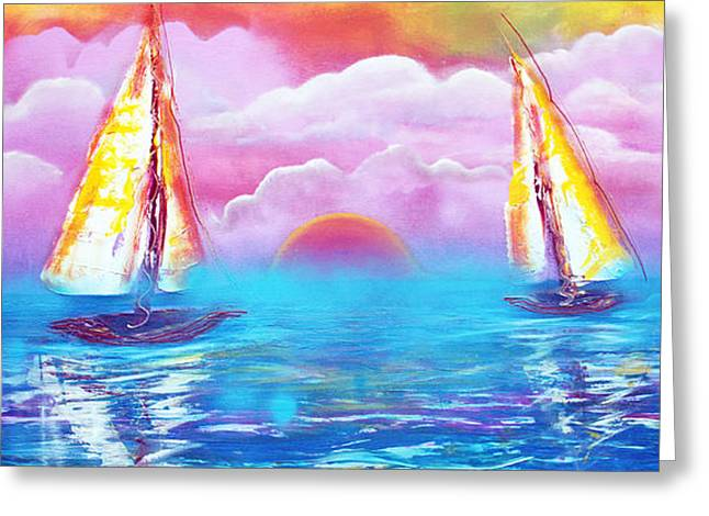 Ocean Sailing Greeting Cards - Cotton Candy Cove Greeting Card by Laura Barbosa