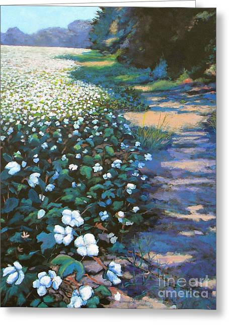 Blue Green Greeting Cards - Cotton Field Greeting Card by Jeanette Jarmon