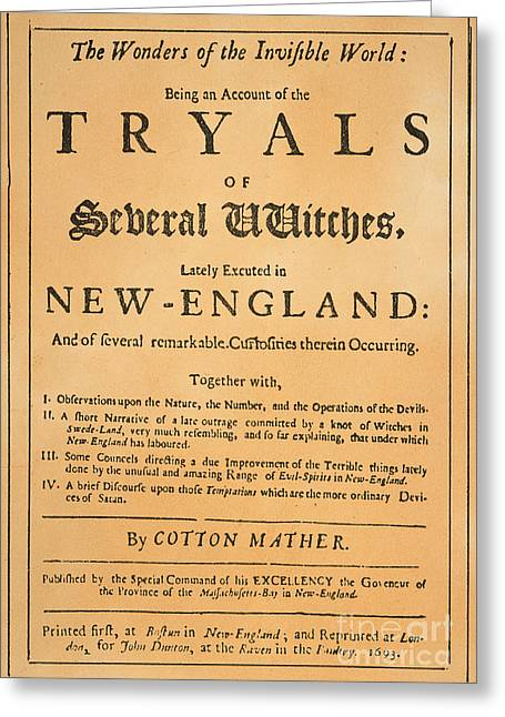 Puritan Greeting Cards - Cotton Mather, 1693 Greeting Card by Granger
