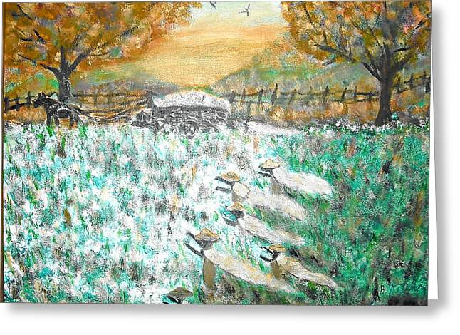 Slavery Pastels Greeting Cards - Cotton Pickers Greeting Card by BJ Abrams
