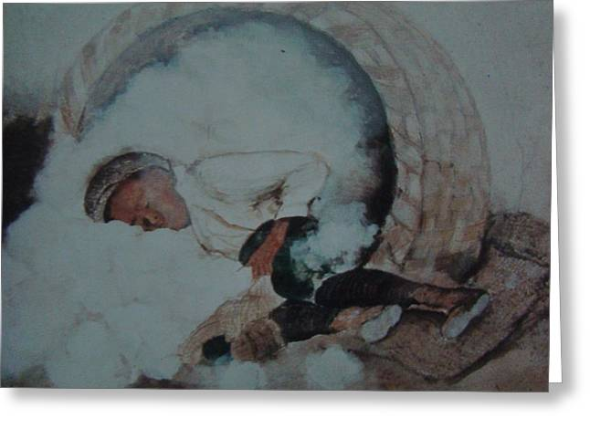 """""""cotton Pickers"""" Greeting Cards - Cotton Tired  Greeting Card by Charles Roy Smith"""