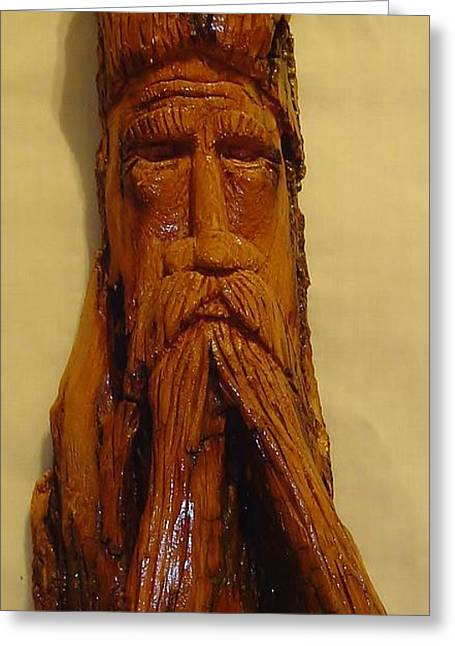Wizard Sculptures Greeting Cards - Cottonwood Bark  Wood Spirit Greeting Card by Russell Ellingsworth