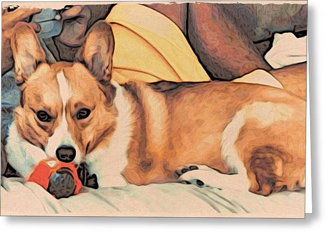 Landscape Framed Prints Greeting Cards - Couch Corgi Chewing a Ball Greeting Card by Kathy Kelly