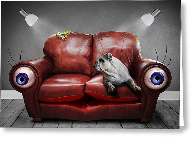 Eyelash Greeting Cards - Couch Potatoes  Greeting Card by Jonny