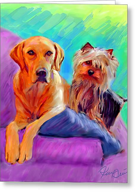 Lab Digital Art Greeting Cards - Couch Potatoes Greeting Card by Karen Derrico