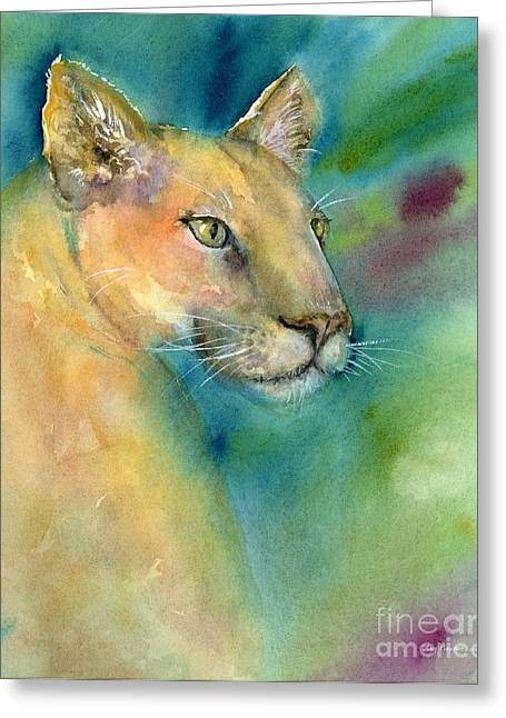 Wild Cats Paintings Greeting Cards - Cougar Greeting Card by Amy Kirkpatrick