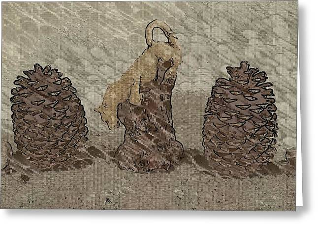 Creating Sculptures Greeting Cards - Cougar  and Pinecones Greeting Card by Peggy Leyva Conley