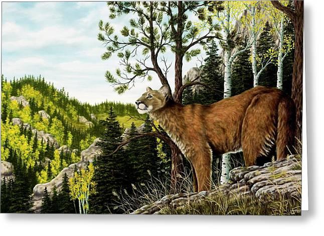 Cougar Country Greeting Card by Rick Bainbridge