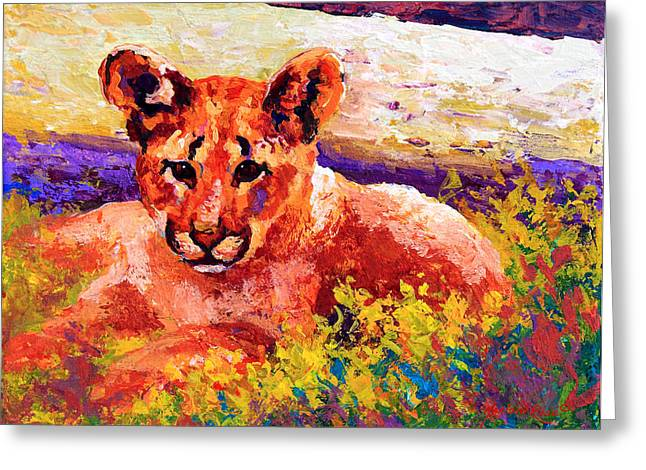 """wild Cat"" Greeting Cards - Cougar Cub Greeting Card by Marion Rose"
