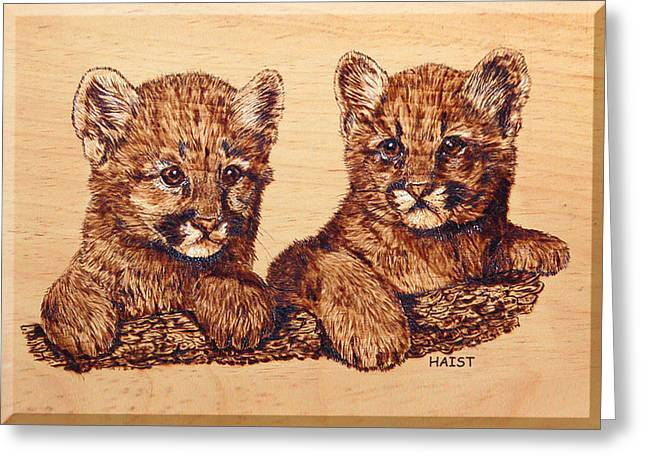 Lions Pyrography Greeting Cards - Cougar Cubs Greeting Card by Ron Haist