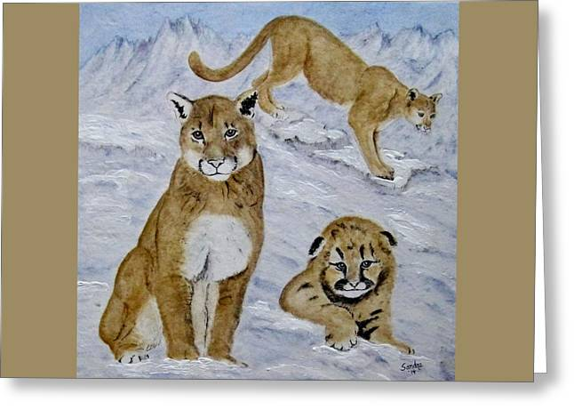 Sky Ceramics Greeting Cards - Cougar Family Greeting Card by Sandra Maddox