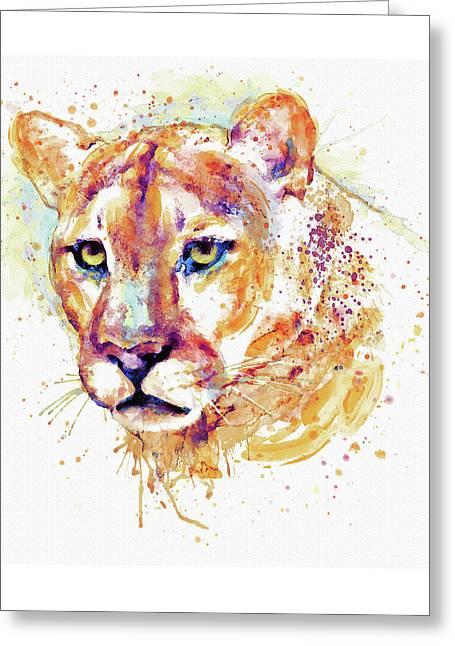 Cougar Head Greeting Card by Marian Voicu