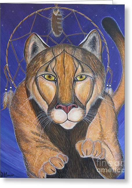 Portrait With Mountain Greeting Cards - COUGAR MEDICINE with Cobalt Blue Background Greeting Card by Aimee Mouw
