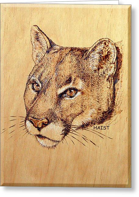 Lions Pyrography Greeting Cards - Cougar Greeting Card by Ron Haist
