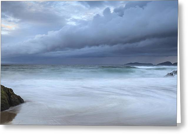 Panoramic Ocean Greeting Cards - Coumeenole Greeting Card by Graham Daly