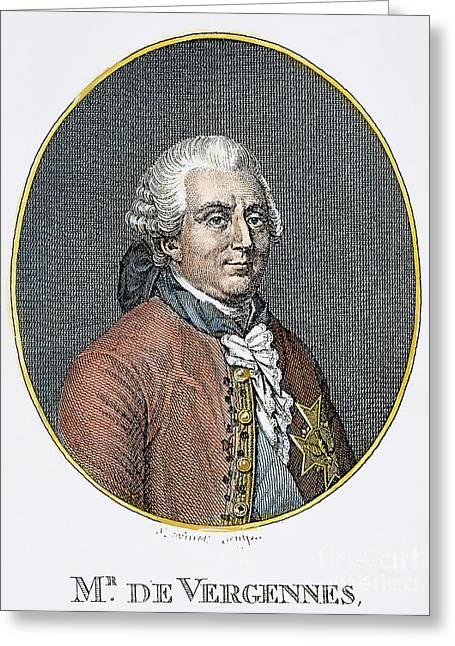 Diplomat Greeting Cards - COUNT de VERGENNES (1717-1787). Charles Gravier, Comte de Vergennes, French statesman and diplomat.  Steel engraving, 19th century Greeting Card by Granger