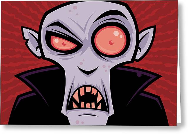 Cartoon Greeting Cards - Count Dracula Greeting Card by John Schwegel