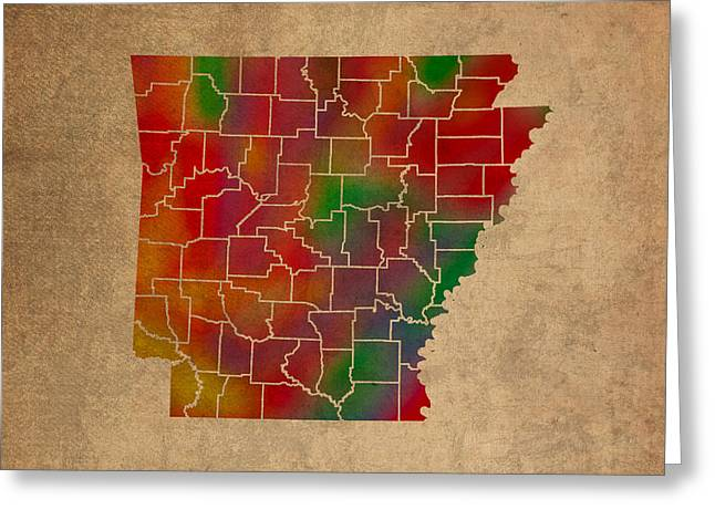 Counties Of Arkansas Colorful Vibrant Watercolor State Map On Old Canvas Greeting Card by Design Turnpike