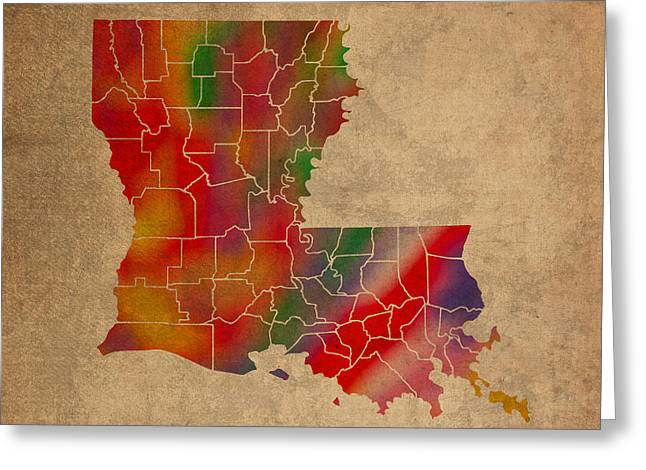 Louisiana Greeting Cards - Parishes Of Louisiana Colorful Vibrant Watercolor State Map On Old Canvas Greeting Card by Design Turnpike
