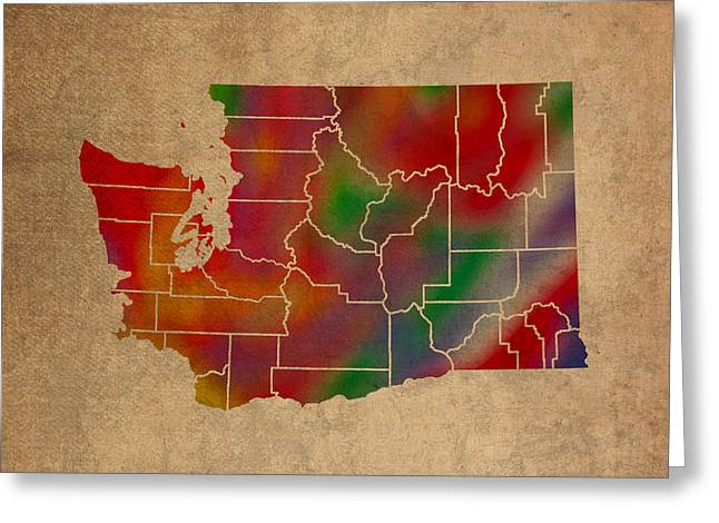 Tacoma Greeting Cards - Counties Of Washington Colorful Vibrant Watercolor State Map On Old Canvas Greeting Card by Design Turnpike