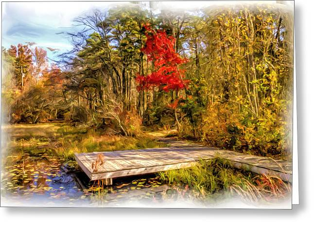 Paint Photograph Greeting Cards - Country Autumn scenic Greeting Card by Geraldine Scull
