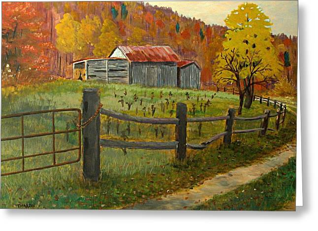 Shed Paintings Greeting Cards - Country Autumn Greeting Card by Tim Martin