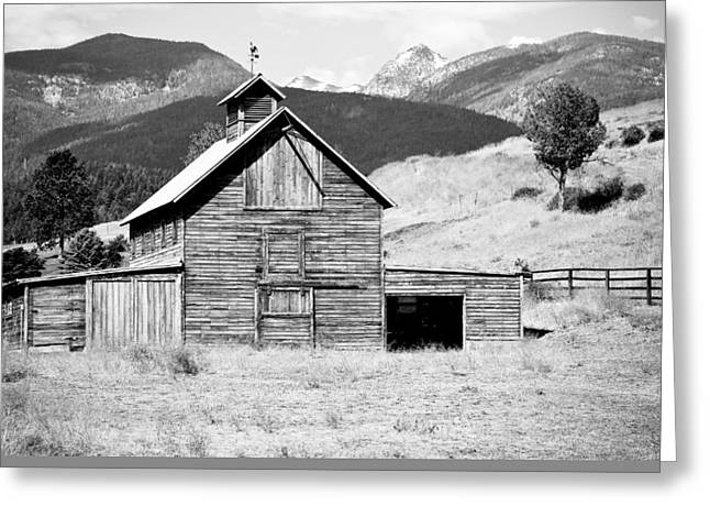 Shed Greeting Cards - Country Barn Black And White Greeting Card by Athena Mckinzie