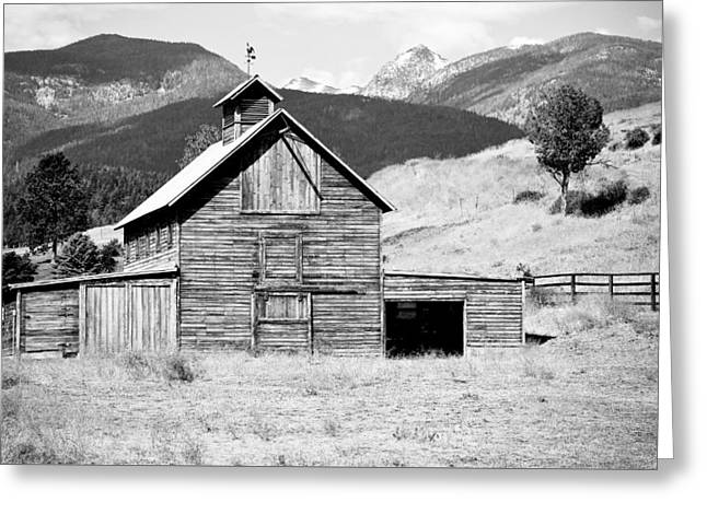 Outbuildings Greeting Cards - Country Barn Black And White Greeting Card by Athena Mckinzie