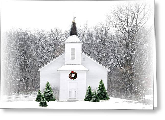 Religious Greeting Cards - Country Christmas Church Greeting Card by Carol Sweetwood