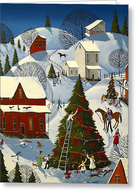 Christmas Art Greeting Cards - Country Christmas Tree Contest Greeting Card by Debbie Criswell