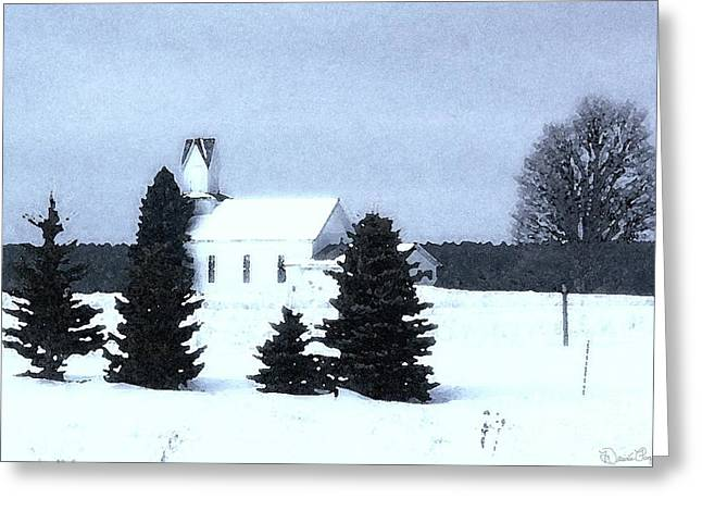 Country Church Mixed Media Greeting Cards - Country Church In Winter Greeting Card by Desiree Paquette