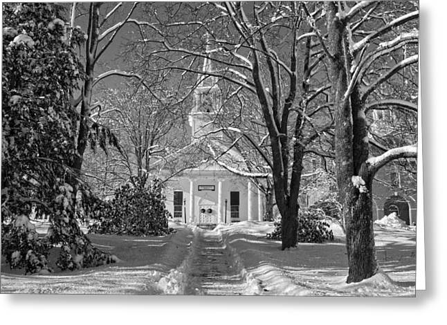 Country Church Greeting Cards - Country Church In Winter Maine BandW Photo Greeting Card by Keith Webber Jr