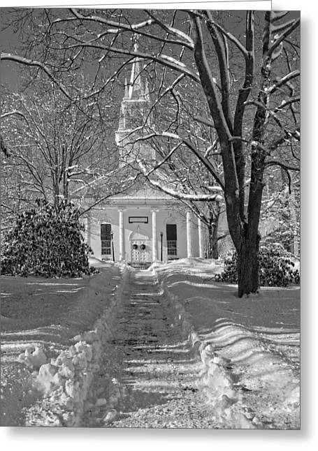 Country Church Greeting Cards - Country Church In Winter Maine Black and White Photo Greeting Card by Keith Webber Jr