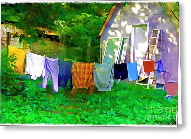 Sheds Greeting Cards - Country Clothes Line - Digital Paint 1 Greeting Card by Debbie Portwood