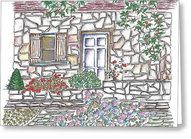 Country Cottage Drawings Greeting Cards - Country Cottage Greeting Card by Elisabeth Achauer