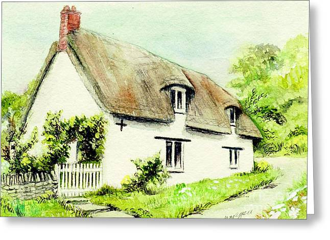 Country Cottage Mixed Media Greeting Cards - Country Cottage England  Greeting Card by Morgan Fitzsimons