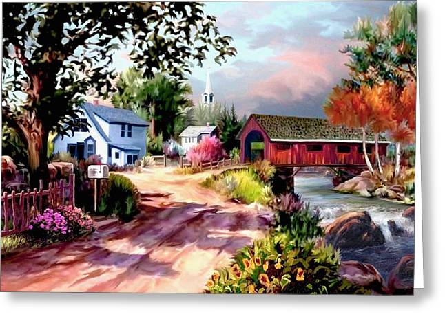 Landscape With A Road Greeting Cards - Country Covered Bridge Greeting Card by Ronald Chambers