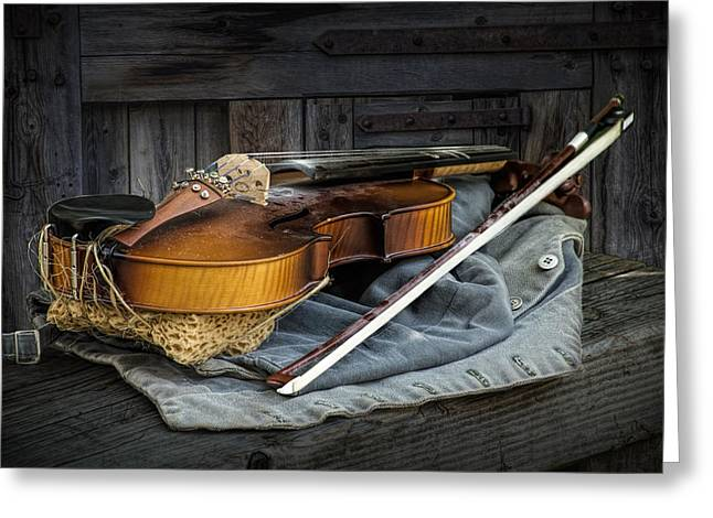 Violin Bows Violin Bows Greeting Cards - Country Fiddle Stringed Instrument with Bow Greeting Card by Randall Nyhof