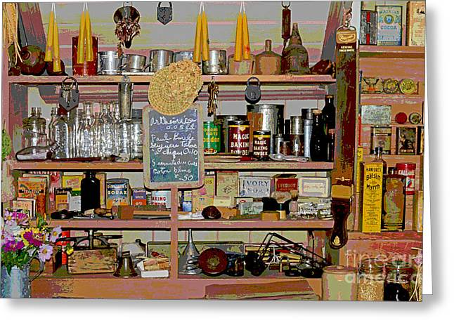 Grocery Store Greeting Cards - Country General Serigraph Style Greeting Card by Offroad Artist