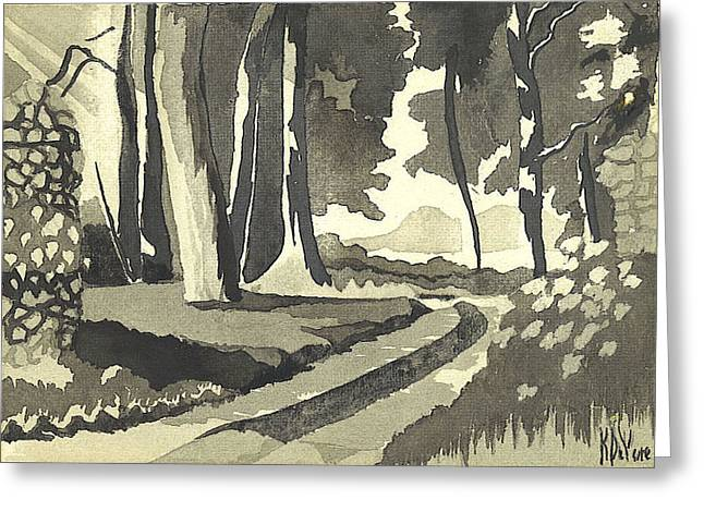 Rocks Drawings Greeting Cards - Country Lane in Evening Shadow Greeting Card by Kip DeVore
