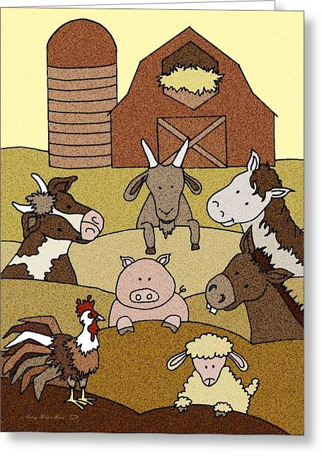 Donkey Mixed Media Greeting Cards - Country Life 10 Greeting Card by Sherry Holder Hunt