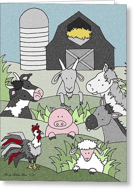Donkey Mixed Media Greeting Cards - Country Life 14 Greeting Card by Sherry Holder Hunt
