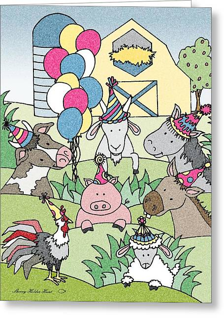 Donkey Mixed Media Greeting Cards - Country Life Birthday Greeting Card by Sherry Holder Hunt