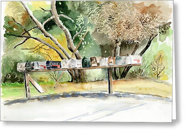 Postal Paintings Greeting Cards - Country Mailboxes Greeting Card by Arline Wagner